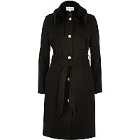 Black belted military coat
