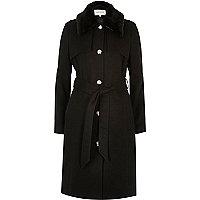 Manteau militaire noir à ceinture