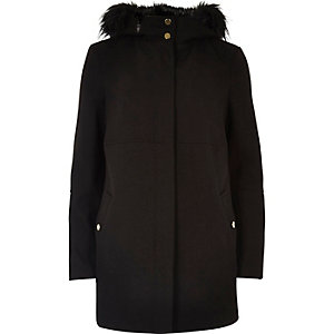 Black faux fur trim hooded coat