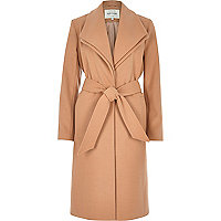 Camel double collar robe coat