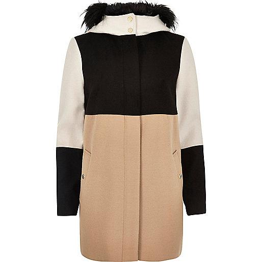 Black and beige block coat