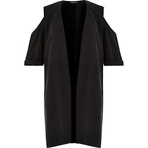 RI Plus – Schwarzer Kimono mit Schulterausschnitten