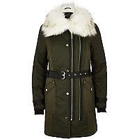 Khaki faux fur collar parka
