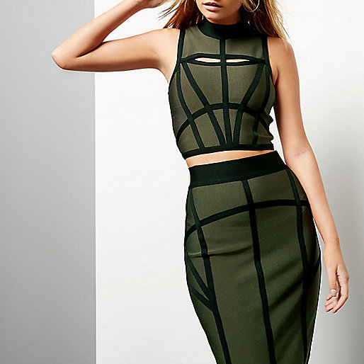 Khaki bandage crop top