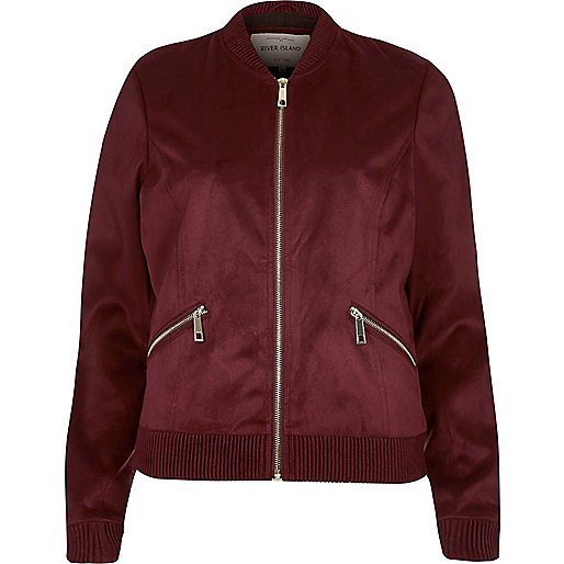Burgundy faux suede bomber jacket