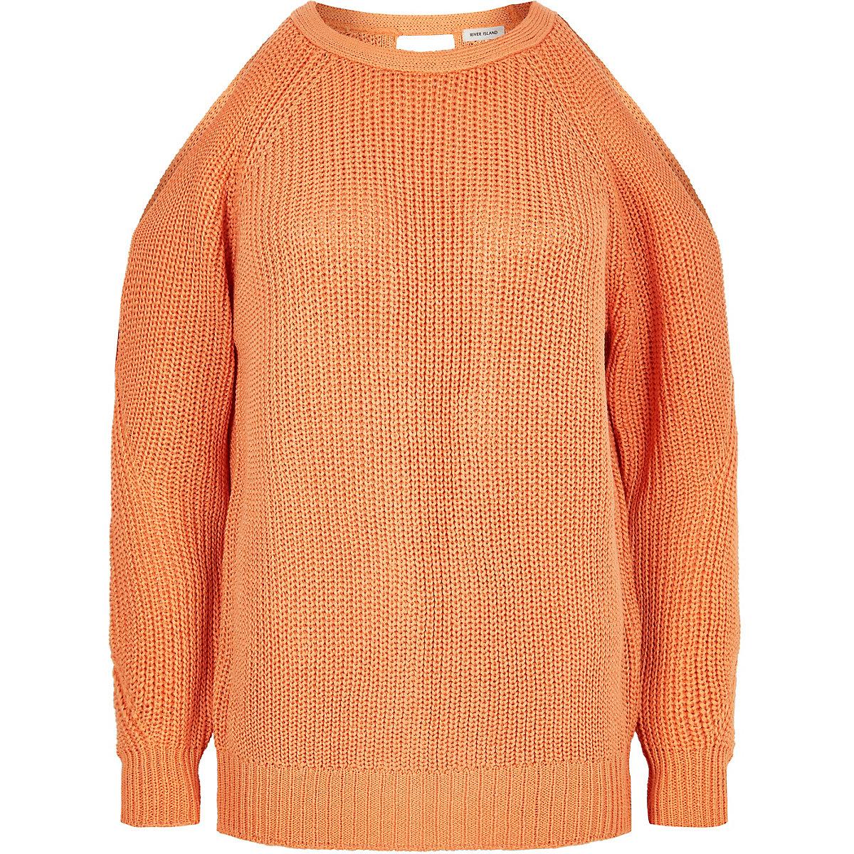 Orange knitted cold shoulder jumper