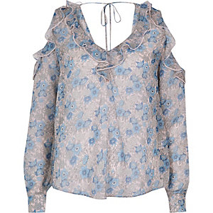 Blue print cold shoulder blouse