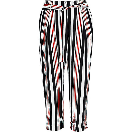 Pantalon court à rayures blanc