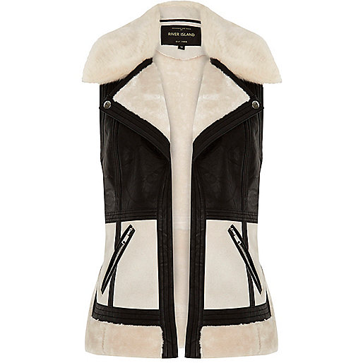 Light cream color block vest