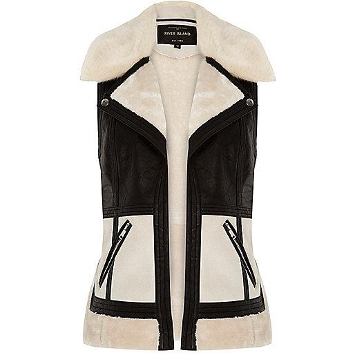 Light cream color block vest