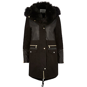 Black faux fur collar parka
