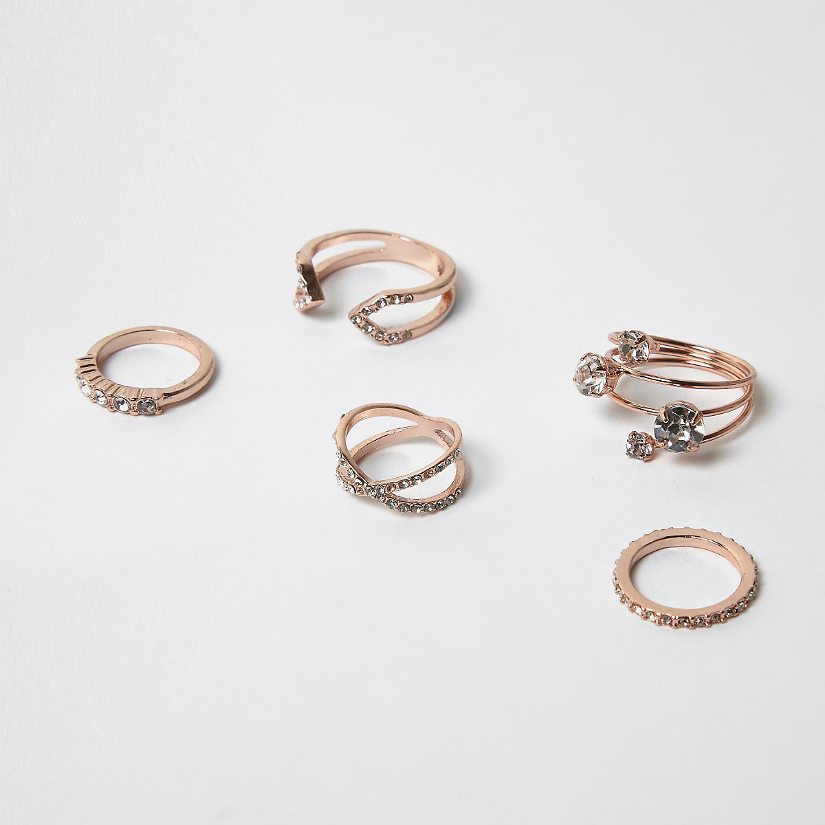 Rose gold tone rhinestone rings pack
