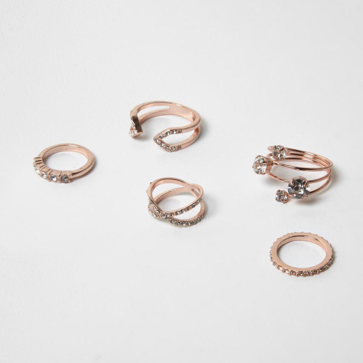 Rose gold tone diamante rings pack