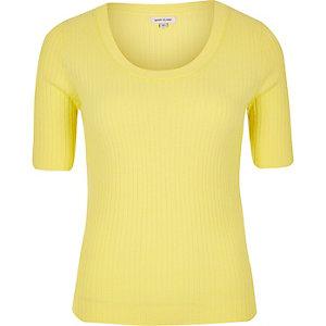 Yellow knit scoop neck top