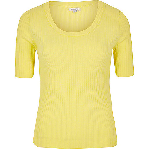 Yellow knit scoop neck top