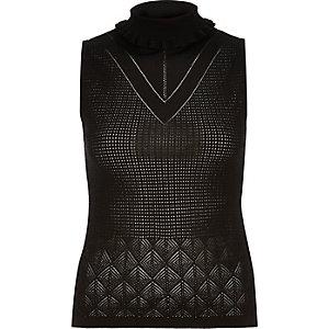 Black fine knit roll neck top