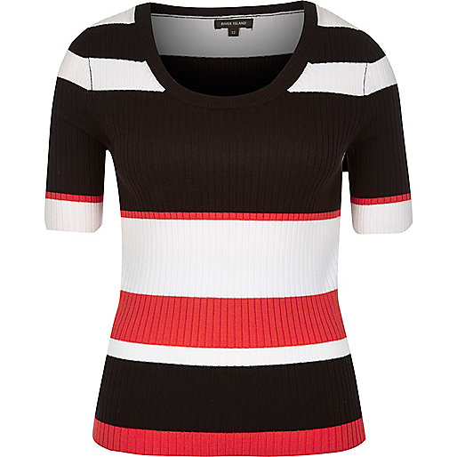 Black stripe knit scoop neck top