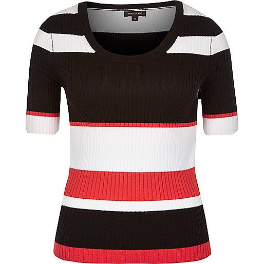 Black stripe knit scoop neck top