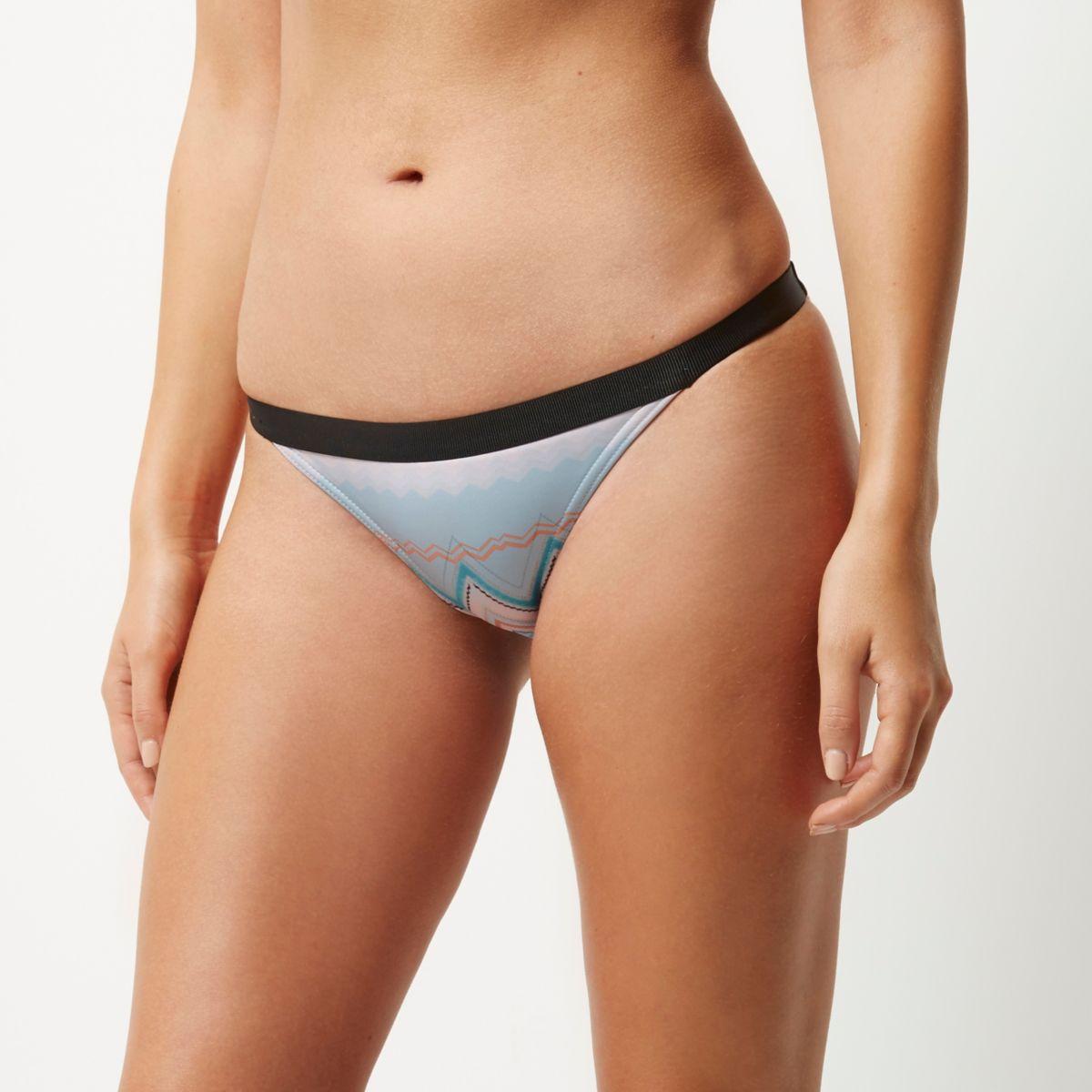 Bas de bikini imprimé zigzags bleu