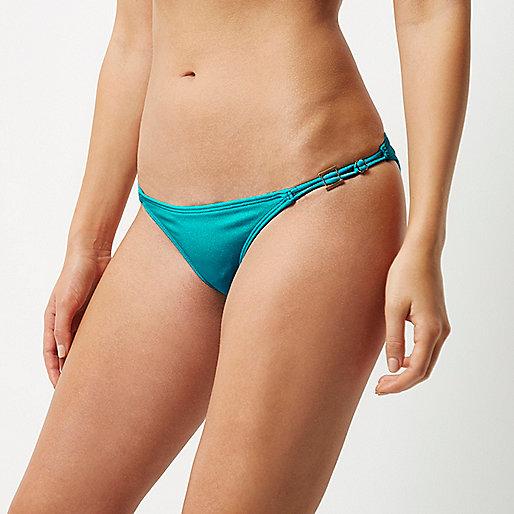 Turquoise strappy bikini bottoms