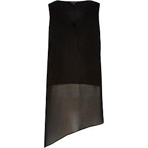 Black asymmetric vest