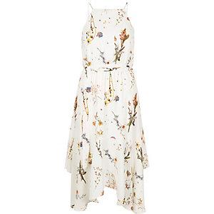Crème jurk met bloemenprint