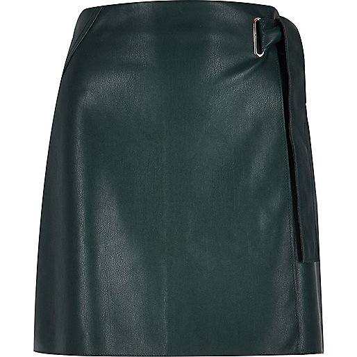 Dark green buckle wrap mini skirt