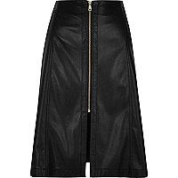 Black leather look A-line midi skirt
