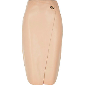 Pink leather look wrap pencil skirt