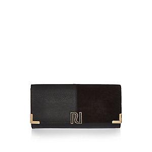 Black panel foldover clutch bag