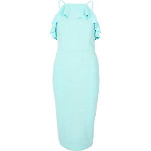 Light blue frill bodice midi dress