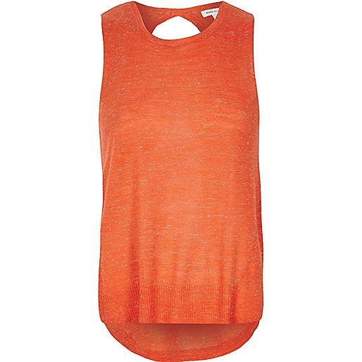 Top orange effet cache-cœur au dos