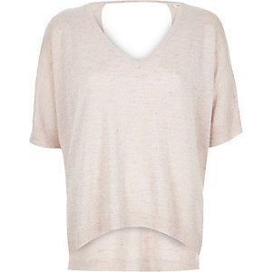 Light pink knit keyhole top