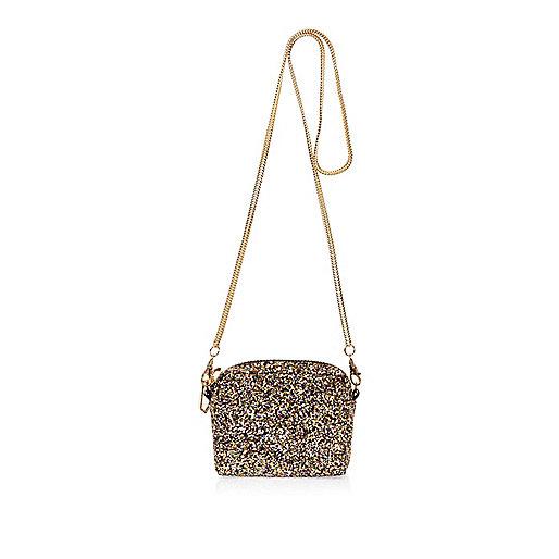 Gold glitter mini cross body bag