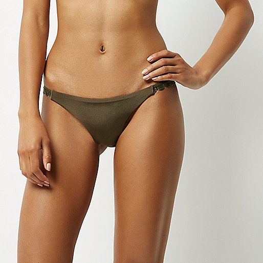Khaki scalloped bikini bottoms