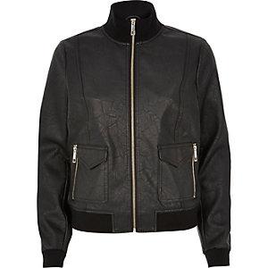 Black leather-look funnel neck bomber jacket