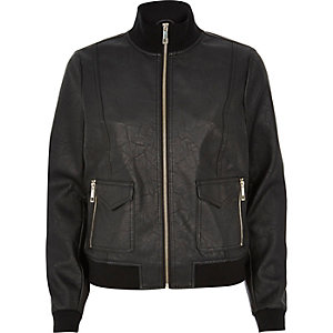 Black leather-look funnel neck bomber jacket