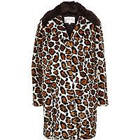 Manteau en fausse fourrure imprimé léopard crème