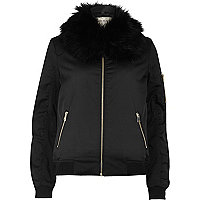 Black faux fur collar bomber jacket