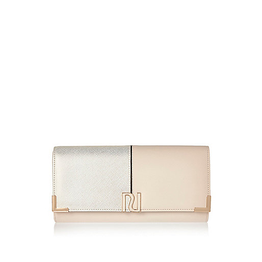 Cream panel foldover clutch bag