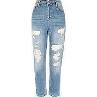 Middenblauwe wash ripped mom jeans