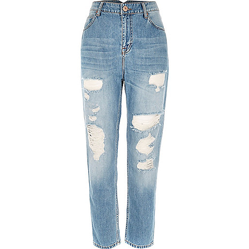 Mid blue wash ripped Mom jeans