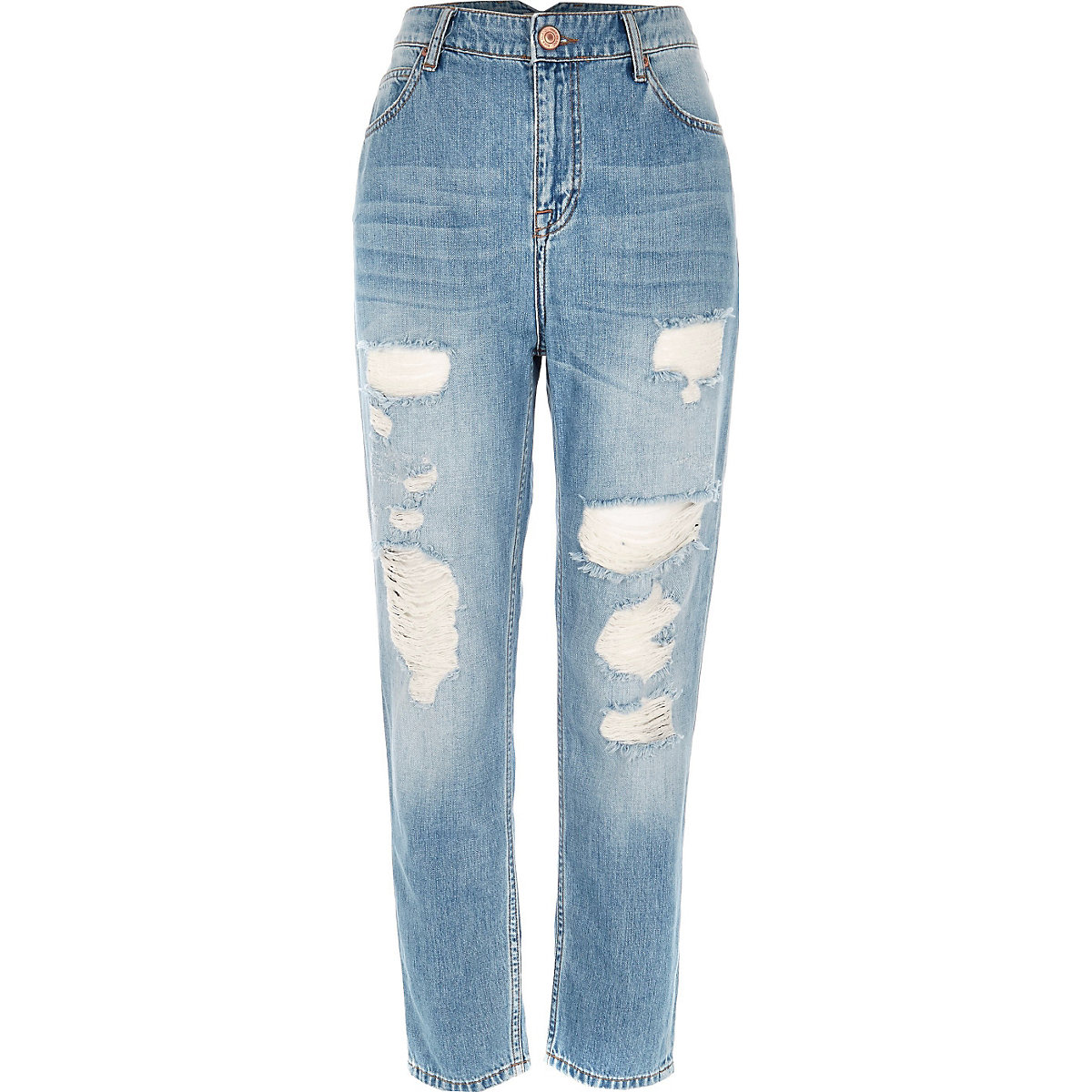 3405a481fc Mid blue wash ripped Mom jeans - Mom Jeans - Jeans - women