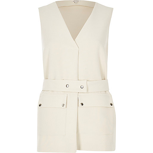 Cream belted top
