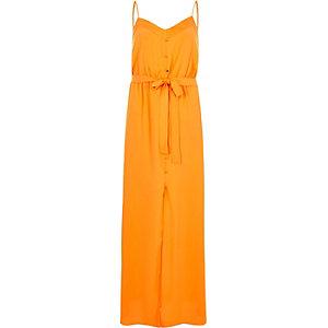 Robe longue orange à boutons