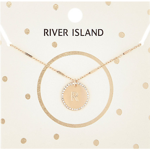 Gold tone R initial necklace