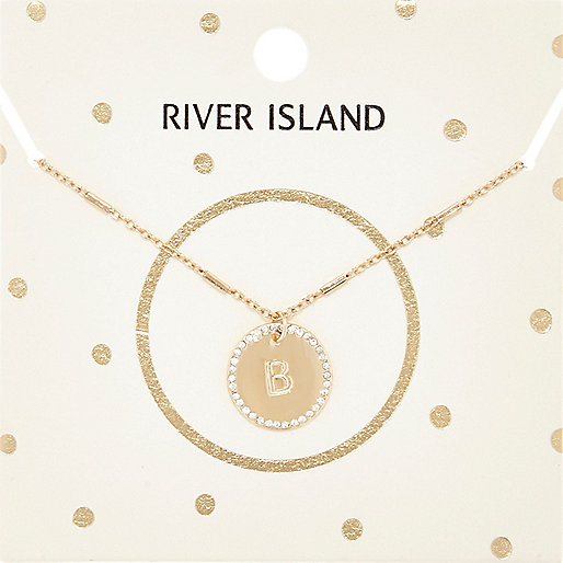 Gold tone B initial necklace