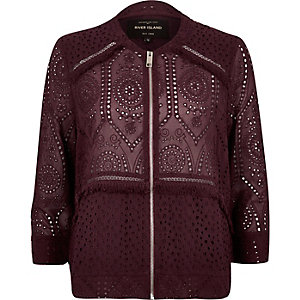 Burgundy crochet bomber jacket