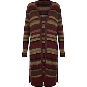 Red stripe knit longline cardigan
