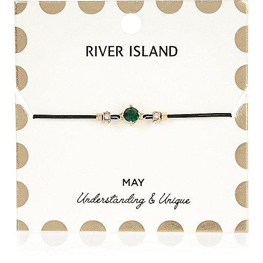Bracelet vert avec pierre de naissance mois de mai